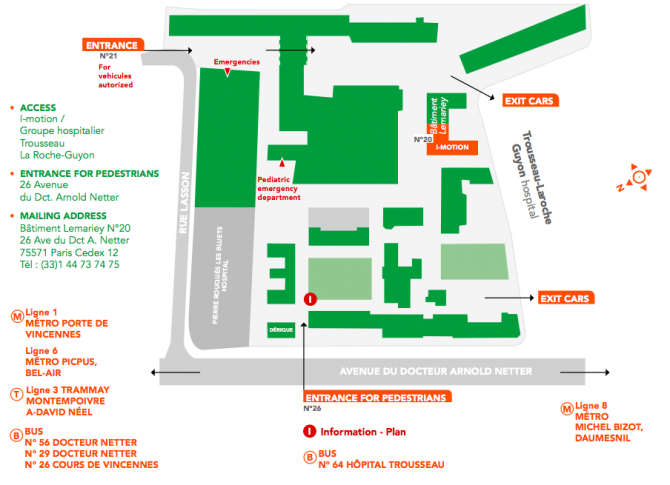 I-Motion access map, Trousseau Hospital